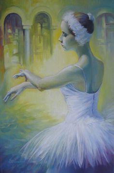 Swan dance, Acrylic painting by Elena Oleniuc   Artfinder