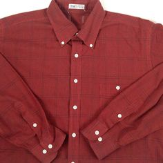 Vtg Mens Shirt Large Tall Red Black Plaid Button up Long Sleve Straight Hem #Unbranded #ButtonFront
