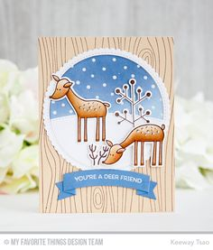 Handmade card from Keeway Tsao featuring Deer Friends stamp set and Die-namics Christmas Deer, Christmas Wishes, Christmas 2016, Big Shot, Winter Karten, Friends Set, Mft Stamps, Jingle All The Way, Winter Cards