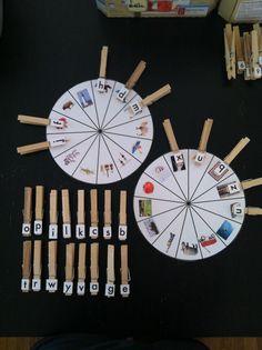Lenguaje- Ruedas con dibujos para buscar la letra con su sonido inicial.