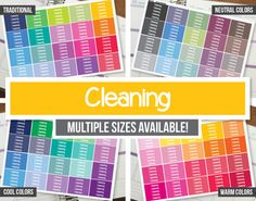 Cleaning Planner Stickers Headers  Erin Condren ECLP Happy