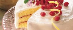 The red raspberry preserves filling in this lemony yellow cake makes each slice pretty as a picture!