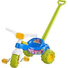 Triciclo Magic Toys Tico Tico Baby Monsters Azul, diversão para seu filho.    Duas formas de brincar: com haste para empurrar a criança e pedal para uma diversão eletrizante.