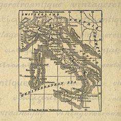 Digital Antique Map of Italy Image Graphic Italian Map