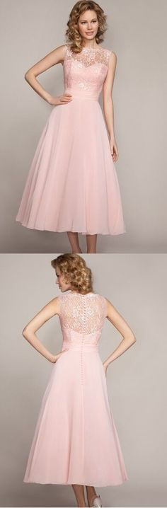 lace bateau neckline a-line/princess tea length chiffon pink bridesmaid dress