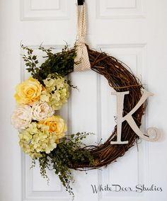 Personalized Pastel Wreath Front Door Wreath by WhiteDoorStudios