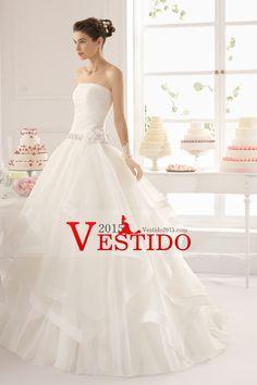 2015 vestido de novia sin tirantes de Noble blusa plisada con cuentas cintura con balón vestido de organza de la falda