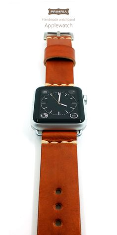 Applewatch + PRIMRIA leather straps  Strap at Etsy Store: https://www.etsy.com/listing/234765866/  #applewatch #primria #leather #leathstrap