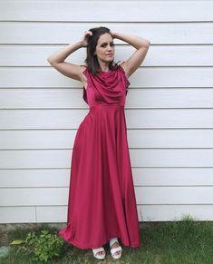 Vintage 70s Raspberry GRECIAN GODDESS Maxi DRESS xs draped | Etsy Tent Dress, Boho Dress, Grecian Goddess, Crop Top Sweater, Ethnic Print, Vintage 70s, Hippie Boho, Lace Trim, Raspberry