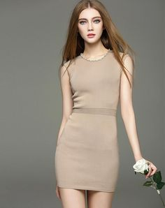 Sexy Sleeveless Beaded Knit Bodycon Dress. VIPme.com offers high-quality Day Dresses at affordable price.