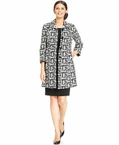 3c4131974a2 Kasper Long Printed Jacket   Sleeveless Sheath   Reviews - Wear to Work -  Women - Macy s