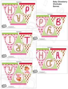 Instant Download - Baby Strawberry Shortcake Banner