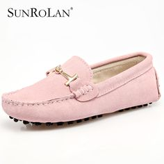 SUNROLAN Spring Summer 100% Leather Genuine Women Flat Shoes Top Quality Moccasins Casual Shoes Slip On Apartments Moccasin 8801