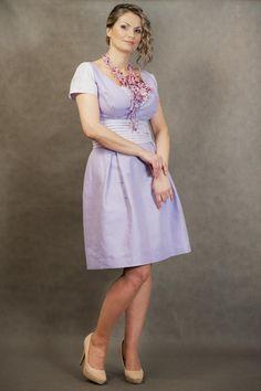 lniana wrzosowa sukienka - Estera-Grabarczyk - Sukienki ekologiczne