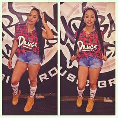 Drugs Plaid Shirt Denim Jeans Weed Socks Timberland Boots Braids Dope Fashion Swag Urban Pretty Girl