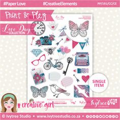 PP/191/CC/CE - Print&Play - CUTE CUTS - Creative Elements - Love Day Collection #PrintAndPlay #PlannerStickers #Scrapbooking #PaperCrafts #DigitalProducts