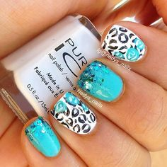 Teeal Glitter Mani | See more at http://www.nailsss.com