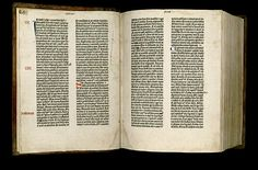 """Printed in Mainz, Germany in the1450's by Johann Gutenberg. We know for certain about this printed Bible from a letter written by Enea Silvio Piccolomini (later Pope Pius II) dated March 12,1455 in which he refers to it. Written in Latin,the Gutenberg Bible is an edition of Jerome's """"Vulgate"""" and was the first printed Bible, indeed, the first major book printed with movable type in the West. Some collectors think that it is the most beautiful book ever printed."""