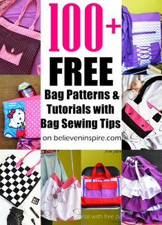 Sew a Bag (100+ free bag patterns and tutorials with bonus bag sewing tips) - Believe&Inspire