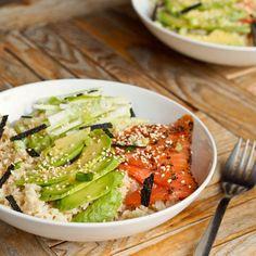 Japanese Salmon Avocado Rice Bowls Recipe with rice, avocado, smoked salmon, cucumber, nori, sesame seeds, sesame oil, gluten-free tamari, rice vinegar, gari, wasabi