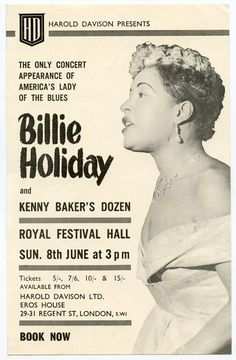 Billie Holiday 'Phantom' Concert Handbill, Royal Festival Hall, Sunday June 8 1958 #Jazz