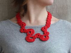 Red necklace Fiber jewelry Geometric by 100crochetnecklaces, $15.00