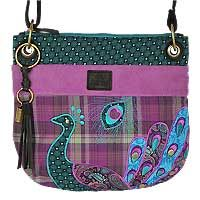 Cross Body Shoulder Bag with Applique Peacock by Karma in luscious colors!