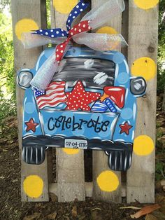 This red, white and blue vintage pick-up truck doro hanger will look fabulous on any entrance! Its made from wood, hand painted, wired to hang Painted Doors, Wooden Doors, Painted Signs, Hand Painted, Burlap Door Decorations, Burlap Door Hangers, Burlap Crafts, Wooden Crafts, Pick Up