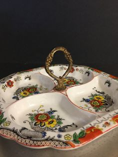 Vintage China Sectioned Tidbit Relish Dish  by PineStreetPickers