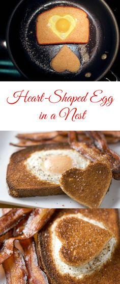 Easy Valentine's Day Breakfast: heart-shaped egg in a nest.  pinchmysalt.com