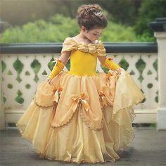 2019 New Belle Girls Dress Yellow Princess Cosplay Costume Birthday Party Dress Belle Dress Kids, Princess Dress Kids, Girls Dress Up, Flower Girl Dresses, Princess Belle Costume, Flower Girls, Princess Birthday, Princess Wedding, Princess Party