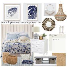 Hamptons Bedroom Interior Design Mood Board by Lupton Interior Design Hamptons Living Room, Hamptons Bedroom, Hamptons House, The Hamptons, Home Design, King Size Bed Head, Hamptons Style Decor, Interior Styling, Interior Design