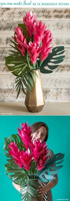 DIY Tropical Paper Ginger Flower www.LiaGriffith.com #DIYTropicalFlower #DIYPaperFlowers #DIYPaperFlower #DIYJumboFlower #PaperFlowers #PaperFlower