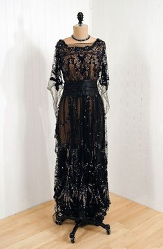 """*1910's """"Sigel"""" Early French-Designer Couture Fabric-Label  *Elegant Nouveau Sequined\/Beaded Metallic-Silver & Black Silk-Tulle  *Exquisite Winged Fairy-Sleeve Appliqued Satin-Cummerbund Bodice  *Tea-Length Flowing Trained-Backside Goddess Sheer-Skirt"""