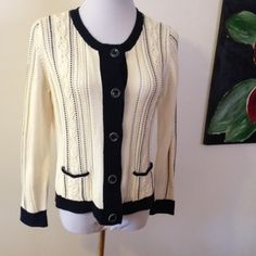 Talbots cable knit sweater cardigan button up Super cute and versatile! Size medium, button front in a cream/navy color. Perfect condition with no flaws to note. I barely ever wore this. Smoke free home! Talbots Sweaters Cardigans