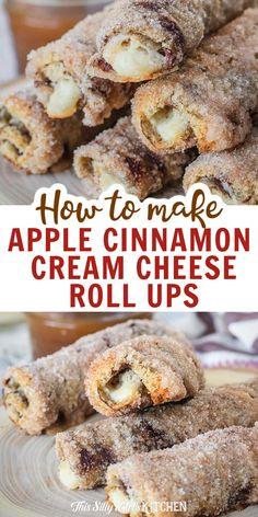 Apple Cinnamon Cream Cheese Roll Ups, apple cream cheese rolled inside cinnamon swirl bread and baked to crunchy, creamy deliciousness. #applerollups #rollups