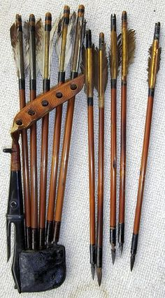 Shiko type yebira with ya, this small set was for use with kago hankyu / rimankyu, a small bow made from horn instead of wood, used by samurai when traveling in a palanquin (litter or sedan chair).