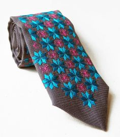 Krawat folk szary, haft podlaski turkus Floral Tie, Vintage, Accessories, Fashion, Floral Lace, Moda, La Mode, Fasion, Fashion Models