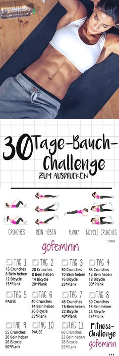 The 30 day belly challenge: bye rolls, hello six pack! - The 30 day belly challenge: bye rolls, hello six pack! Informations About Die 30 Tage Bauch-Challeng - Fitness Workouts, Yoga Fitness, Fitness Motivation, 30 Day Fitness, Fitness Routines, Sport Fitness, Fun Workouts, At Home Workouts, Health Fitness