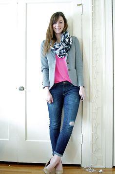 American Apparel Tie Dye Scarf, H Blazer, Gap Neon Tee, Gap Jeans
