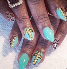 Light blue 3D nails