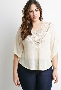 Plus Size FOREVER 21+ Crochet-Trimmed Sweater
