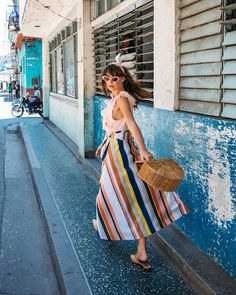 $70 Multicoloured Rainbow Coloured Striped High Waisted A-Line Skirt Pale Pink Peach Ruffled Sleeveless Blouse And Bright Pink Retro Sunglasses Summer Spring Old School Street Style Tumblr