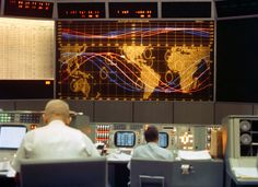 Inside NASA's Mission Control Center during the Gemini 5 mission, August 21-29, 1965.