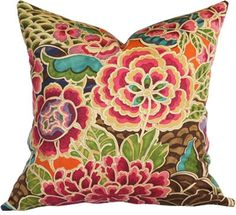 Floral pillow in vibrant colours with a Japanese Kimono inspired vibe. Available at www.tonicliving.com #tonicliving #watercolor