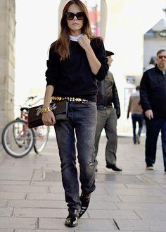 Zara sweatshirt (men's collection), Acne shirt, Balmain belt, Balmain denim, Jil Sander bag, Celine shoes