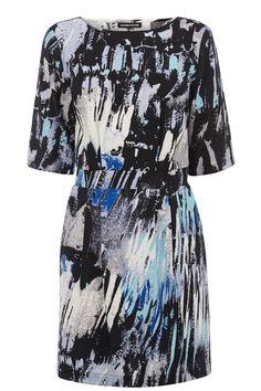 Dresses | Blue Paint Print Waisted Dress | Warehouse