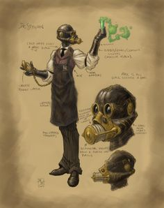 Doctor Stygian by Matt Wilson mattwilsonart.com #Gasmask #steampunk