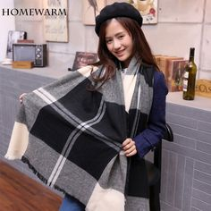 Cashmere Scarf Winter Scarves Plaid Double-Sided Soft Faced Plaid Thicken Warm Cape Shawl Scarves Bandana