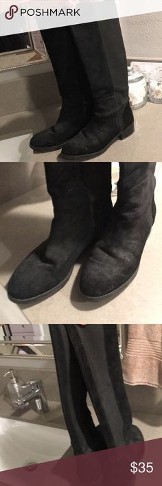 Donald Pliner Black Suede tall boots 8.5 DP tall black suede boots. Small heel. Slightly used condition. Please see pics. Sold as is. Make an offer. GREAT for winter. Has alot of life left in them. Fit a true size 8.5. Tight up calf. They have elastic back (see pics). Donald J. Pliner Shoes